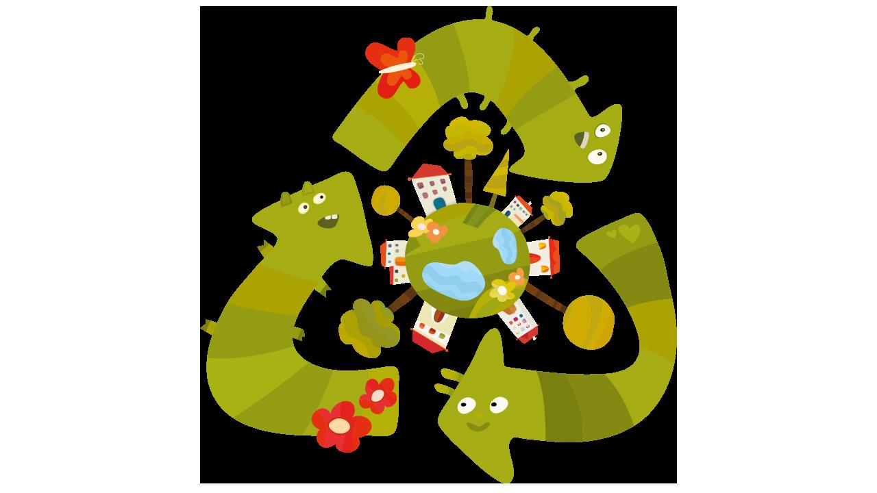 Hullunkurinen kuvitus iloisista kierrätysnuolista jotka pyörivät maapallon ympärillä.