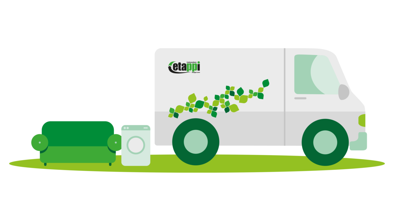 Piirroskuva isojen esineiden noudosta: pakettiauto hakee sohvaa ja pesukonetta.