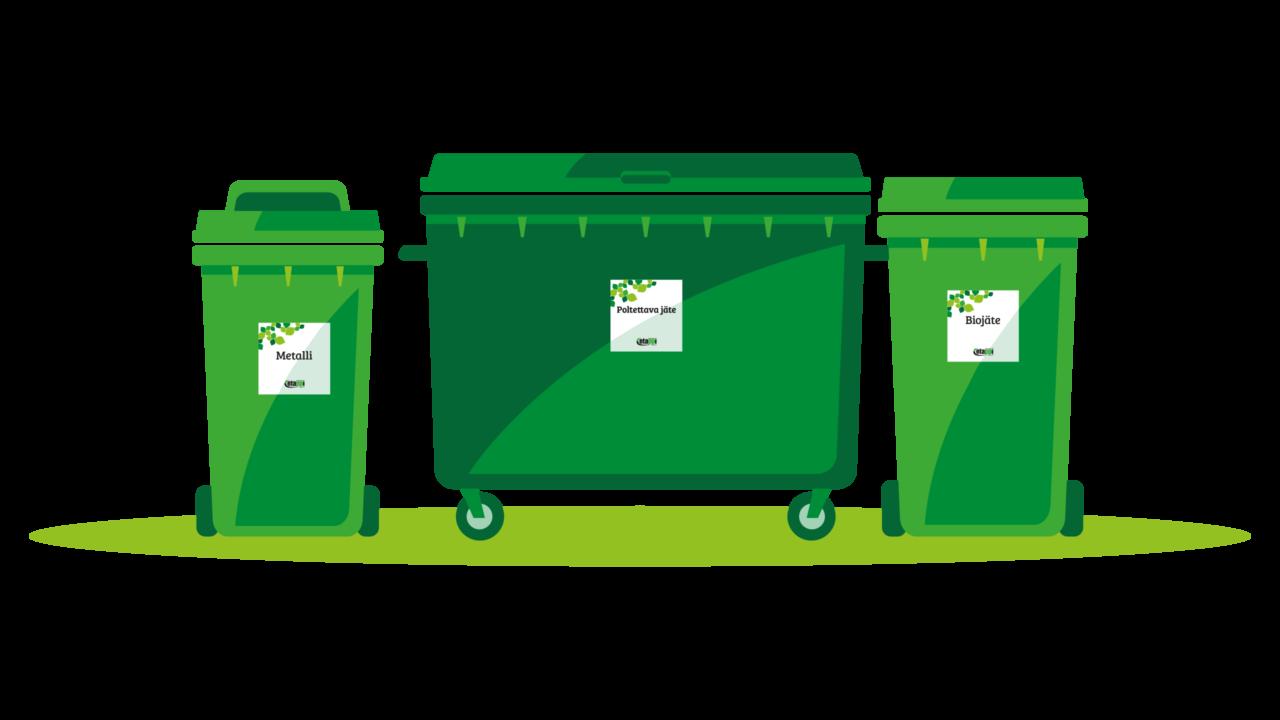 Piirroskuva jätesäiliöistä ja jäteastioista.