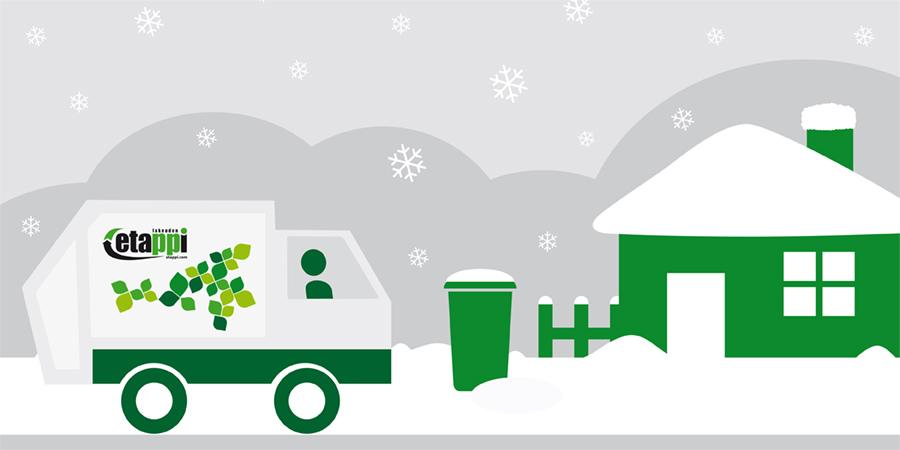 Jäteauto talvimaisemassa -kuva