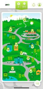 Näyttökaappaus Kierrätyskyläpelin mobiiliversiosta